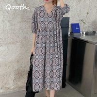 Qooth Summer Autumn Loose Dress Bohimian Vintage Printed Casual Women es Half Sleeveless Calf Length QT082 210609