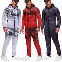 Men's Tracksuits 2021 Autumn Winter 2Pc Printing Cardigan Zipper Jacket Long-Sleeve Casual Hoodies Sets Fitness Leisure Suit