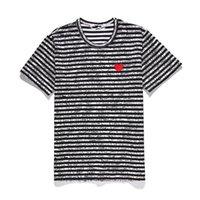 Мужские дизайнеры T Футболки Play Commes R Des Garcons Красное сердце Спорт Tee Белая полоса рубашка высочайшее качество