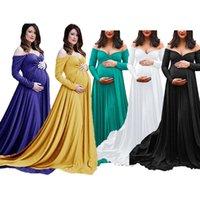 Casual Dresses Mercerized Cotton pregnant women's V-neck tailed long p o dress 1860