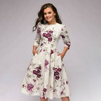 Women  4 Long Sleeved A-Line Beach Dress Evening Party Formal Maxi Floral Print Ladies Vintage Sundress Prom Long Gown