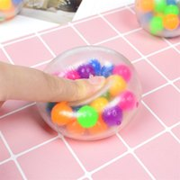 Sensory Fingers Toys 6cm Color Bead Ball TPR Rubber Decompre...