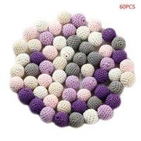 60 unids 20 mm Crochet redondo Cuentas de madera Baby Teether Nursing Haciendo Crafts Chapifiers #