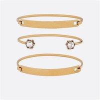 Bangle Carta Anel Pulseira Material de bronze Retro Avant-garde Beleza Obrigatório Three Split Fashion Jewelry