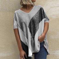 المرأة تي شيرت 40 # زائد الحجم t_shirts إمرأة خمر الصيف اللون كتلة قصيرة الأكمام الخامس الرقبة البلوز تي بلايز روبا دي موهير 2021