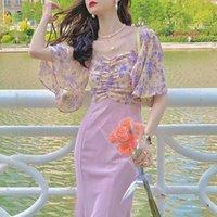 Party Dresses Sexy Bodycon Evening Midi Dress Women Boho Casual Elegant Fishtail Floral Print Korean Fashion Clothing Summer 2021
