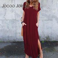 JOCOO JOLEE mujeres más tamaño 5xl vestido largo vestido de manga corta sólido maxi vestido casual camiseta vestido verano suelto sundress 2021