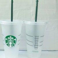 Starbucks 24oz / 710 ml Kunststoff Tumbler Tassen Wiederverwendbare Klares Trinken Flacher Bodenschale Säule Form Deckel Stroh Bardian 50pcs