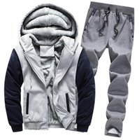 Mens Tracksuit Two Pieces Sets Winter Autumn Warm Thick Jackets Long Sleeves hoodie And Pants Outfits Fashion Style Outwear Sportswear Set Jacket Tops Joggers Suits