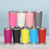 세련된 여러 가지 빛깔의 20 온스 평면 하단 머그잔 스테인레스 스틸 진공 절연 더블 벽 절연 여행 커피 컵