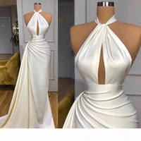 New Gorgeous Cheap Simple Sexy Mermaid Evening Dresses High Neck Keyhole Draped Prom Dress Evening Ogstuff vestidos de fiesta robes de bal