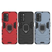 Shockproof Carbon fiber professional military grade Protective mobile case cover with Ring Metal for oppo realme 7 8 back cover