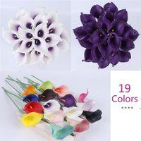 21pcs / lot Natural Real Touch Flower Bouquet di Calla Giglio Decorazione di nozze Fiore falso per il festival del partito domestico Decor 19 colori FWD6069