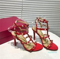 Luxus Frauen Designer Sandalen Rock Stud Kaluffleder High Heels Sommer Gladiator Sandalias Dame Kleid Party Barfuß Hochzeitsschuhe