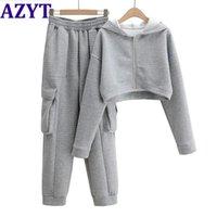 여성용 Tracksuits Azyt 2021 봄 가을 여성 2 피스 세트 캐주얼 솔리드 트랙 슈트 세련된 짧은 후드 가디건 느슨한 높은 허리 땀샘
