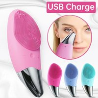 Mini Electric Face Cleansing Silicone Sonic Facial Scrubbers Cleanser Deep Pore Washing Massager Brush Skin Care Device USB Charge