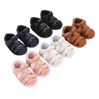 أول مشوا 2021 أزياء الصيف ولد الرضع طفل الفتيان الفتيات بو حامل أحذية ناعمة وحيد جوفاء صندل صالح لمدة 0-18 متر