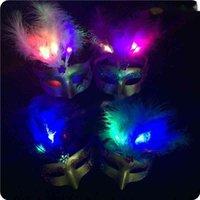 Halloween-Maske leuchtende Feder-Samt-Weihnachts-Party-Kostüm-Ballmasken Urlaubszubehör Requisiten