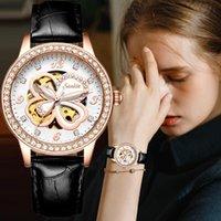 Relojes de pulsera Moda para mujer Relojes Top Marca Luxruy Sunkta Mira automática Mujeres Impermeable Deporte Reloj de Damas Cuero de Cuero Muñeca