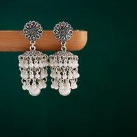 Retro Sier Color Ladies Indian 2021 Women Orecchini Jewellery Boho Gypsy Pearl Flower Jhumka Earrings