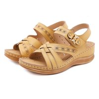 2021 Retro Women's Round Head Electric Embroidery Casual Sandals Fashion Women's Car Line Non-slip Wedge Hollow Sandals