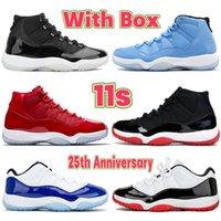 Con caja 11 11s zapatos de baloncesto 25 aniversario bajo blanco bred leyenda azul pantone cítrico espacio atasco iridiscente concord 45 hombres mujeres zapatillas de deporte