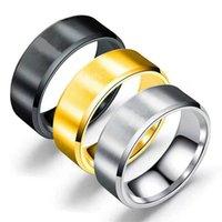 8mm anel de banda de casamento simples de aço inoxidável para homens duplos hypotenuse matte escovado