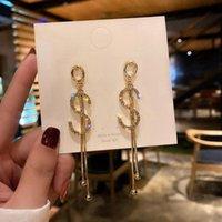 편지 가득 차있는 모조 다이아몬드 s 긴 술 귀걸이 크리 에이 티브 야생 숙녀 패션 학생 여성 파티 액세서리 스터드