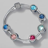 925 Sterling Silver Crystal Clear CZ Charms European Beads w...