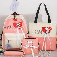 4pcs Canvas Daypacks Ribbon Casual Daypack School Backpack Shoulder Bags Bookbag Pencil Case Set For Student Teen Girls