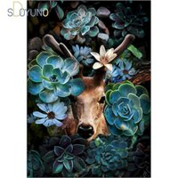 Paintings SDOYUNO Frame DIY Painting By Numbers Milu Deer Modern Picture Draw Number Coloring For Home Decor Artwork