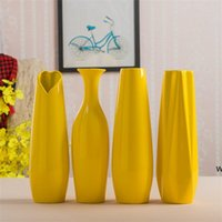 30CM Modern Yellow Vase Furniture Decoration Ceramic Red Tabletop Vases Statue Flower Pot Home Decorations Wedding HWA5459