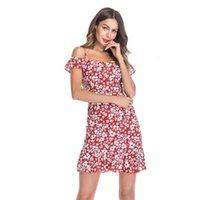 2021 مثير الشيفون المرأة اللباس تانك الأعلى قبالة الكتف الأزهار طباعة النساء فساتين امرأة الملابس متفوقة اللباس الشاطئ للإناث