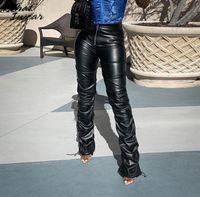 Whatiwear faux pu couro sólido alta cintura empilhada calças 2021 mulheres vestuário moda hipster estilo rua calças longas capris mulheres