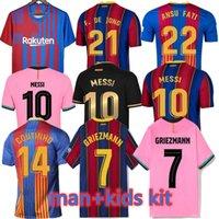 20 21 22 Barca Futbol Formaları Eve Uzaktan Messi Barcelona 2021 Ansu Fati Griezmann Braithwaite Pedri de Jong Coutinho Futbol Gömlek Erkekler Kids Kiti Üniforma