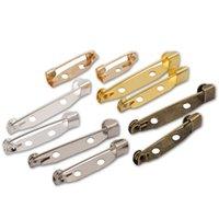 50 unids Brooch PIN Base de clip para la joyería de bricolaje Fabricación de joyería de 15/20 / 25/30 / 35mm de plata KC Gold Bronce Broche Atrás Brooch Pin Bar Accessories 978 T2