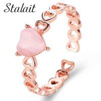 Hueco Love Opal Opal Heart Anillos Pequeño Peach Rose Gold Princwedding Anillo con piedra New Lucki Charm Anillo Y0420