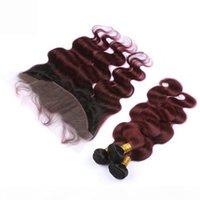 1B 99J Burgundy Ombre Peruvian 인간의 머리카락으로 레이스 정면 폐쇄 바디 웨이브 와인 레드 옴 브레 3Bundles 13x4 전체 레이스 정면