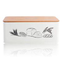 Gıda Saklama Kutusu Konteyner Vintage Galvanizli Metal Somun Ekmek Kutusu Bambu Kapaklı