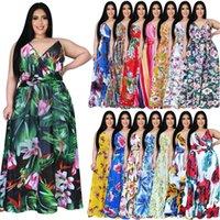 Women plus size maxi dresses summer clothes print floral deep-v neck S-5XL Bohemia sleeveless spaghetti strap holiday evening pencil dress beachwear stylish 01291