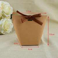 Hanging Baskets 50Pcs Blank Kraft Paper Bag Candy Wedding Favors Gift Box Package Birthday Party Decoration Bags With Ribbon White