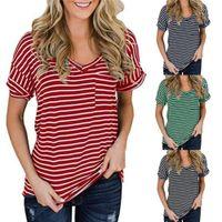 여성 캐주얼 짧은 소매 fsahion 탑스 여자 스트라이프 v 목 티셔츠 여름 디자이너 솔리드 컬러 포켓 느슨한 티셔츠
