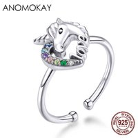 Anomokay Colorful Rainbow CZ Fantesy Licorne Finger Rings 925 Sterling Silver Adjustable Resizable Ring Love Design Jewelry