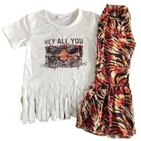 Moda al por mayor Toddler Baby Girls Diseñador de ropa Boutique Bell Bell Pantalones Pantalones Trajes Tiger Imprimir Tassel Decoración Trajes de Chicas 644 Y2