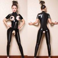 PVC Sexy Body Black Body Femmes Jumpsuit à pied sans entrejorches ouverts Cuplesse Cuplesse creuse Costumes Érotiques Costumes de latex Body Body