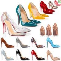 2021 Red Bottom Heels Schuhe Mode Frauen Echtes Leder Kleid Peeptoes Sandalen High Heel Plattform Designer Spitz Pumps Müßiggänger Gummi 35-42