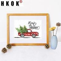 Peintures HKOK Abstrait Abstrait Pinting Pinting Poster Print Camion Arbres de Noël Nordic Canapé murage Art Art Picture Décor pour salon Nonfamed
