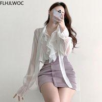 Women's Blouses & Shirts Korea Chic Tops Blusas Bow Tie Office Lady Elegant Bling Thin Sexy Transparent Button White Flhjlwoc Fashion Women