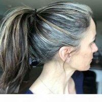 Gergeous Natural Selights Sel à queue de poney et poivre argent gris Vernie-cheveux Extension de cheveux gris Humain Cheveux de cheval de queue de cordon