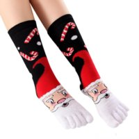 US на акции рождественские украшения носки с пальцами хлопчатобумажный экипаж рождественские пять пальцев носки унисекс свободный размер